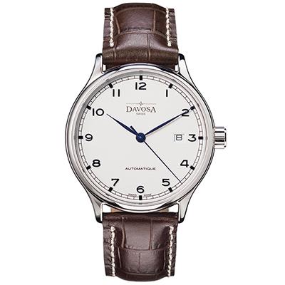 DAVOSA Classic 經典三針機械腕錶-白x皮帶版/40mm