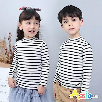 Azio Kids 上衣 磨毛條紋長袖保暖衣(白底黑條)
