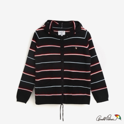 Arnold Palmer-女裝-配色條紋連帽線衫外套-黑