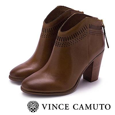 VINCE CAMUTO 尖頭真皮革簍空粗高跟踝靴-棕色