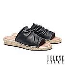 拖鞋 HELENE SPARK 簡約抓皺羊皮造型草編厚底拖鞋-黑