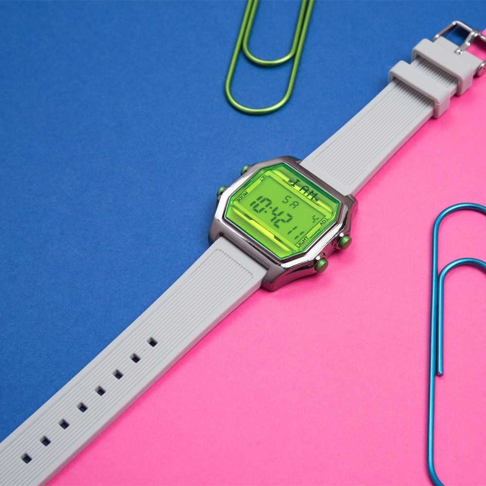 I AM 玩色新革命電子錶-銀殼螢光綠錶盤_大(IAM-103)41x44mm