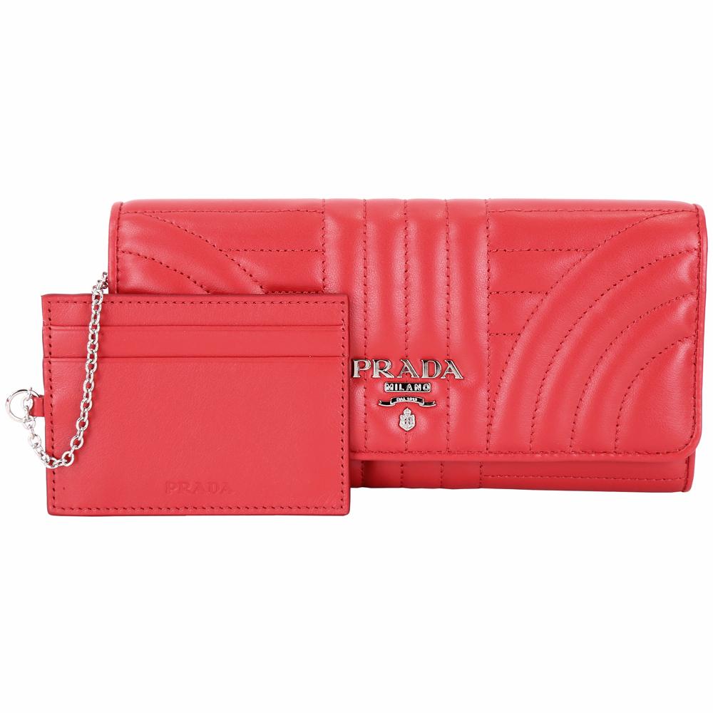 PRADA Diagramme 絎縫小牛皮附證件套釦式長夾(紅色)PRADA