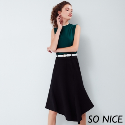 SO NICE都會不規則造型過膝裙