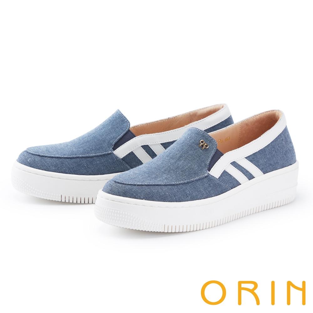 ORIN 牛仔布面厚底 女 休閒鞋 藍色