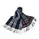 BURBERRY英倫風拼接格紋設計羊毛圍巾(海軍藍x黑白格紋) product thumbnail 1