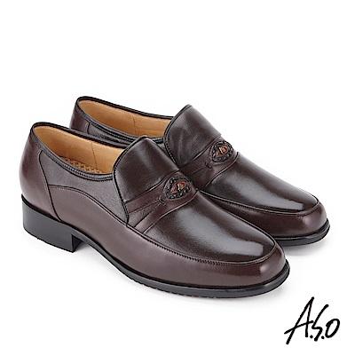 A.S.O 勁步雙核心 壓紋牛皮奈米紳士鞋 咖啡