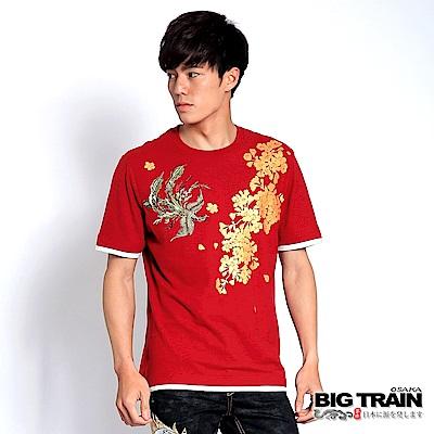 BIG TRAIN 鳳舞金櫻圓領T-暗紅