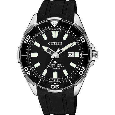 CITIZEN 星辰 PROMASTER 鈦 光動能200米潛水錶-黑膠帶/ 43.5mm BN0200-13E