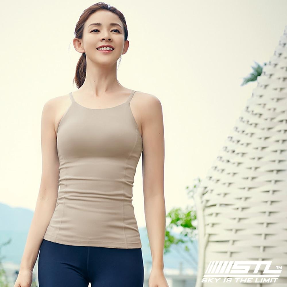 STL yoga bra T SS Loveme 韓國瑜珈 運動機能訓練背心上衣(含專利胸墊) 削肩/細肩杏色