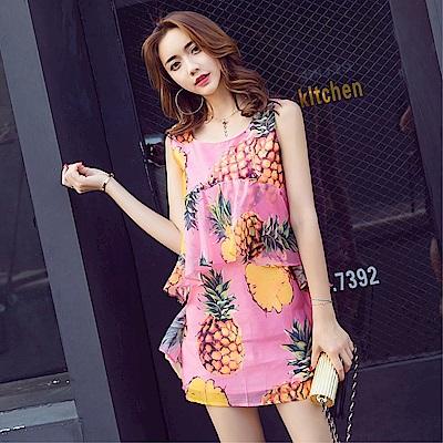 DABI 韓國風圓領菠蘿印花背心裙甜美荷葉邊無袖洋裝