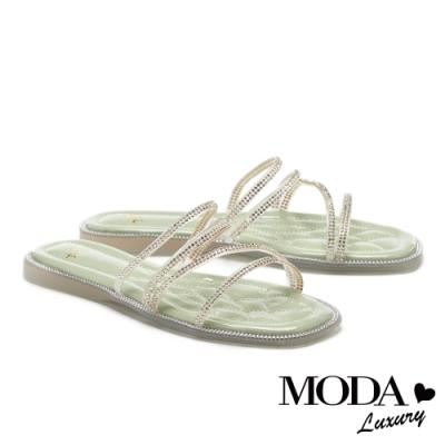 拖鞋 MODA Luxury 極簡晶耀多條帶方頭平底拖鞋-綠