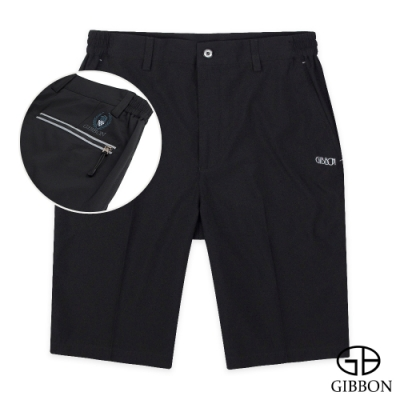GIBBON 速乾Super Stretch反光燙印運動短褲‧黑色