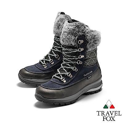 TRAVEL FOX(女) 牛皮防震禦寒高筒翻毛登山鞋 - 深灰