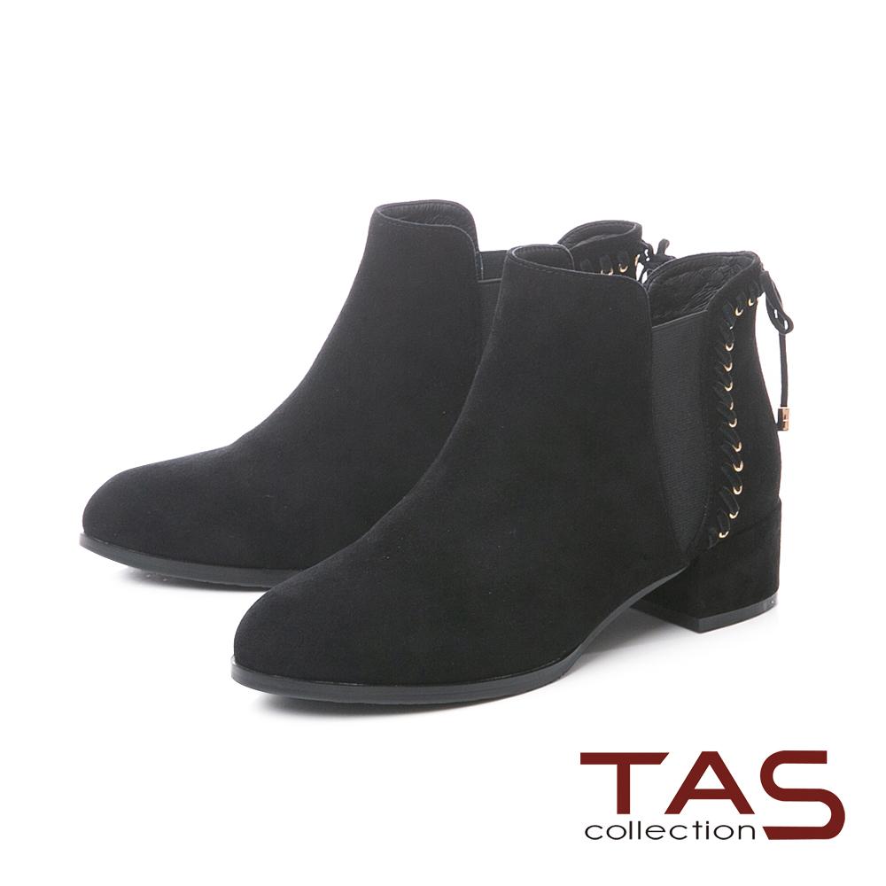 TAS蝴蝶結綁帶素面麂皮粗跟短靴–百搭黑