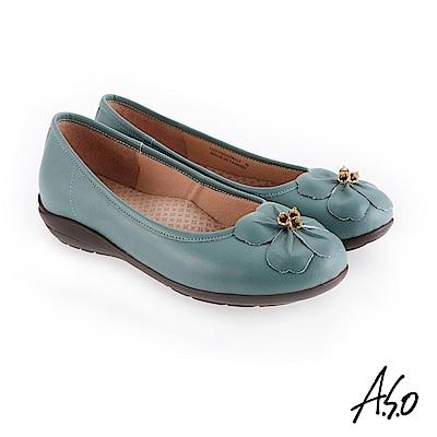 A.S.O 新式復古 花朵裝飾休閒鞋 淺綠