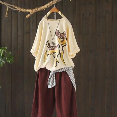 純棉卡通印花T恤寬鬆中長版短袖上衣-設計所在