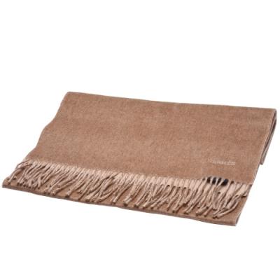 HERMES 經典喀什米爾羊毛雙面流蘇圍巾(棕/卡其色)