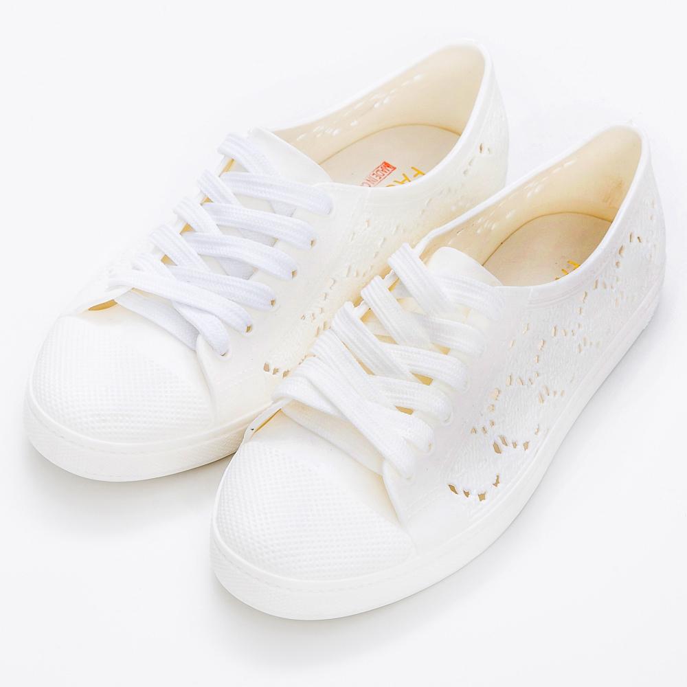 River&Moon防水鞋- 蕾絲洞洞綁帶休閒雨鞋-白