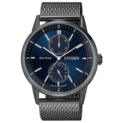 CITIZEN星辰 光動能時尚型男米蘭帶簡約男錶(BU3027-83L)藍x銀灰/41mm