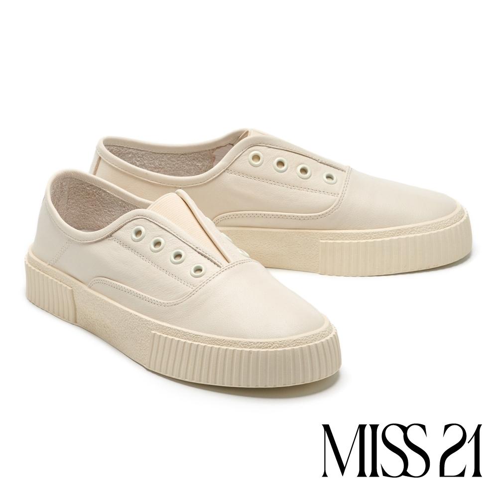 休閒鞋 MISS 21 簡約舒適百搭無綁帶厚底休閒鞋-白