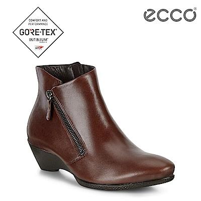 ECCO SCULPTURED 45 W 美感雕塑拉鍊低跟短靴 女-棕