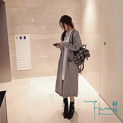 【Hera 赫拉】 2018 秋冬韓版長款大碼寬鬆毛衣外套女針織