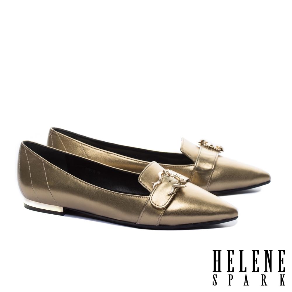 平底鞋 HELENE SPARK 時髦品味造型飾釦全真皮尖頭平底鞋-古銅