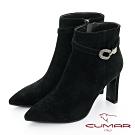 【CUMAR】中性之美腳踝鑽飾高跟短靴-黑色