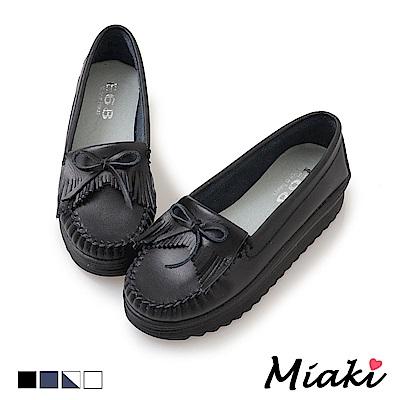 Miaki-休閒鞋通勤經典厚底莫卡辛鞋-黑
