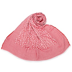 Calvin Klein CK滿版LOGO絲質披肩圍巾-珊瑚紅