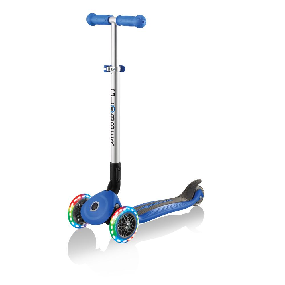 【酷炫發光前輪】GLOBBER 哥輪步 兒童2合1三輪摺疊滑板車-海軍藍