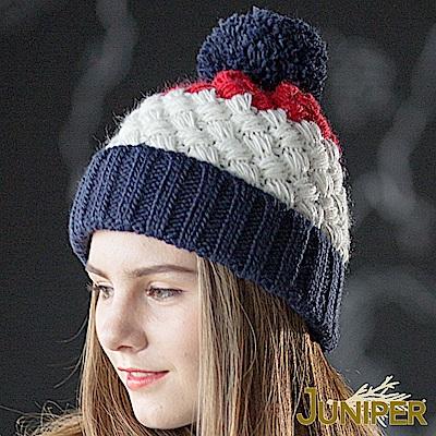JUNIPER 女款防寒拼色針織翻邊刷毛絨內裡防風保暖冬帽