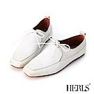 HERLS 全真皮仿舊擦色綁帶方頭休閒鞋-白色