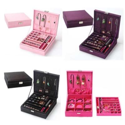 【AJ雜貨】歐式絨布雙層多格首飾盒 珠寶盒 收納盒