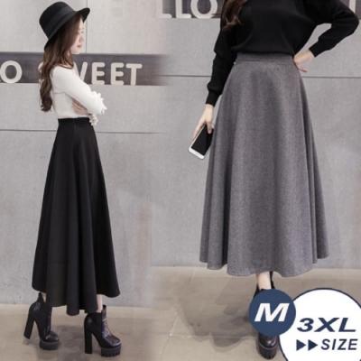 【LANNI 藍尼】簡約冬暖毛呢裙-2色(M-3XL)●