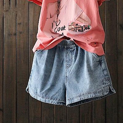 寬鬆純棉牛仔短褲熱褲微喇褲-K1567-設計所在