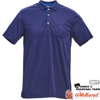 Wildland 荒野 0A71652-72深藍色 男椰炭紗YOKE領抗菌衣