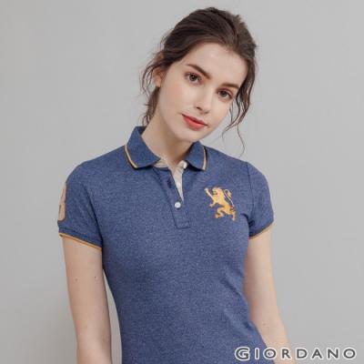 GIORDANO 女裝勝利獅王漸層刺繡彈力萊卡POLO衫-75 雪花古典藍