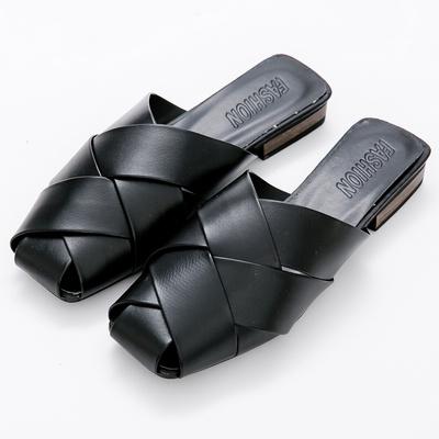 River&Moon拖鞋-皮革交叉編織低跟穆勒鞋-黑
