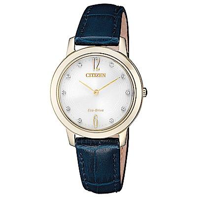 CITIZEN 星辰光動能晶鑽真皮手錶(EX1493-13A)-金框X藍/30mm