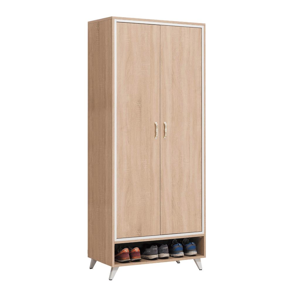 文創集 貝莉現代2.7尺木紋二門高鞋櫃/玄關櫃-80x40x189cm免組