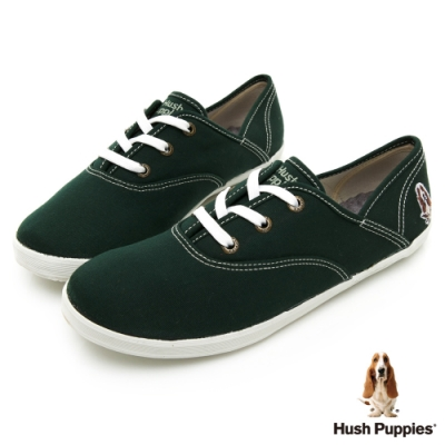 Hush Puppies 學院風基本款咖啡紗帆布鞋-墨綠