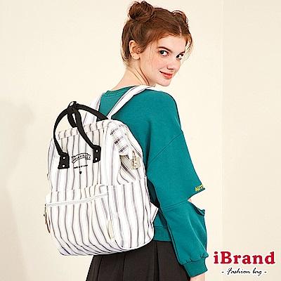 iBrand後背包 甜美女孩直條紋大開口後背包-灰色