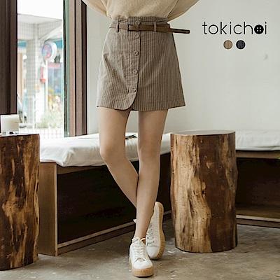 東京著衣 休閒條紋假鈕扣短裙-S.M(共二色)