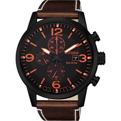 CITIZEN 星辰 光動能城市計時碼錶-橘時標/43mm(CA0617-11E)