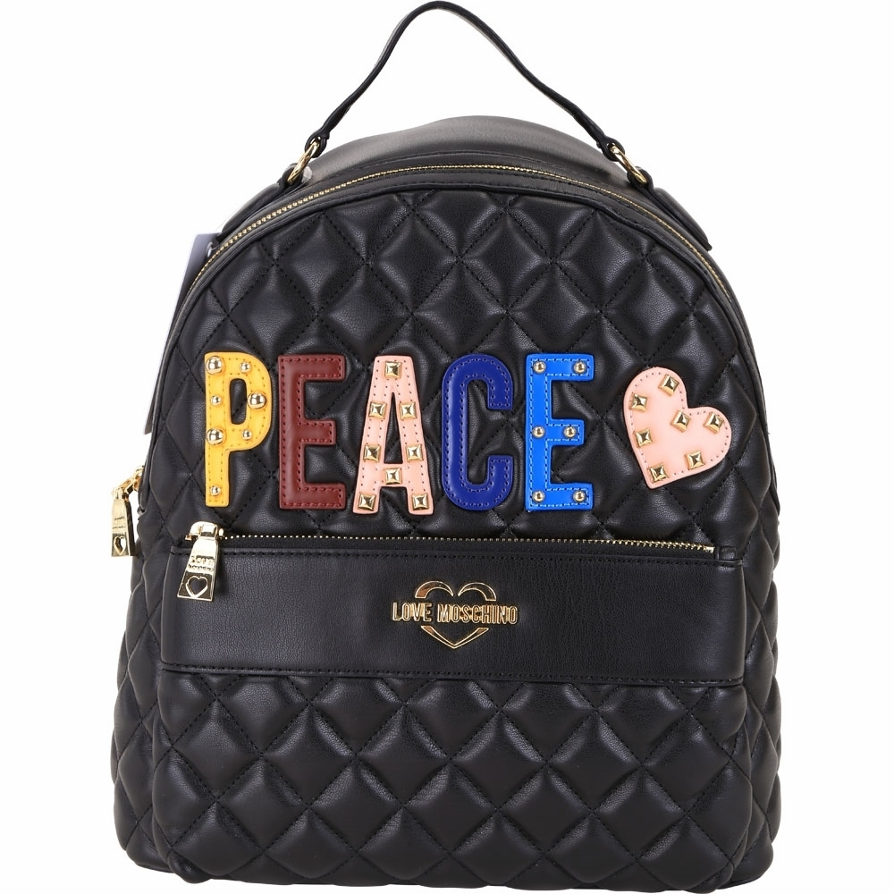 LOVE MOSCHINO PEACE字母鉚釘拼貼絎縫菱格後背包(黑色)