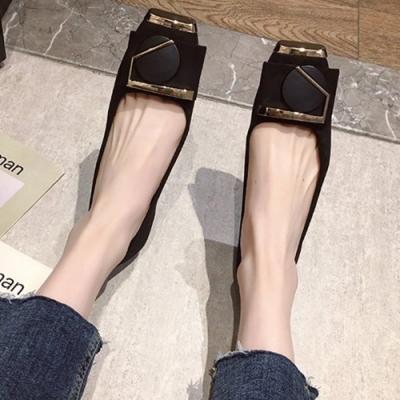 KEITH-WILL時尚鞋館 追加款戀愛魔鏡金扣平底鞋-黑