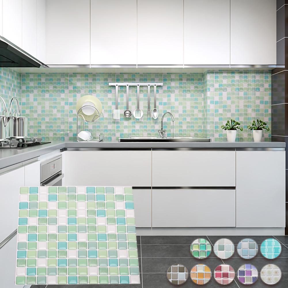 EZlife 3D立體馬賽克水晶壁貼18片組(贈高質感純棉桌巾)