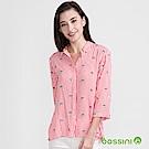 bossini女裝-七分袖印花條紋襯衫嫩粉